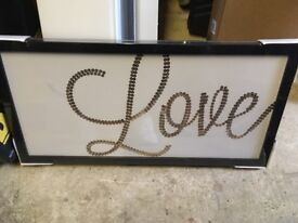 Love canvas picture- gold