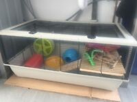 Near perfect Large cage for small animals - Hamster/rat/chinchilla - Bargain! & free hamster toys