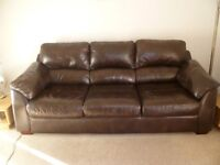 Brown 3 seater leather sofa good condition, and matching chair, bit worn. £90. Buyer must uplift.