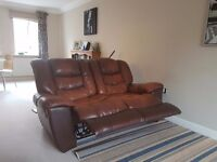 2 seater reclining leather settee in brown