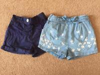 Five girls shorts age 3-4. Excellent condition