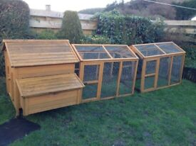 Chicken coop with double run and electric door opening and closing kit