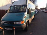 FORD IVECO 2003 GREEN/WHITE MINIBUS, DIESEL, WHEELCHAIR RAMP, MOT-AUGUST 2017 AND IN GOOD CONDITION.