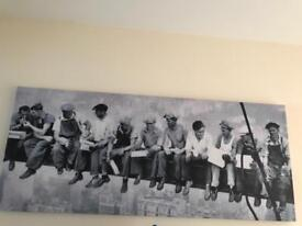 Large/long canvas iconic picture of workers eating lunch on beam New York