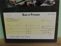 Only Fools and Horses Bank of Peckham cheque signed Del Boy