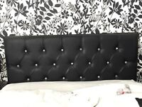 Faux leather headboard black for a king size bed