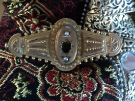 9ct gold hallmarked victorian seed pearl brooch stunning just need stone scrap