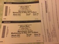 2 Bruno Mars tickets Manchester 3/5/17 Block 203 Row P Seats 15/16. £160 for the pair.
