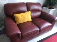 2-seater dark-red leather sofa