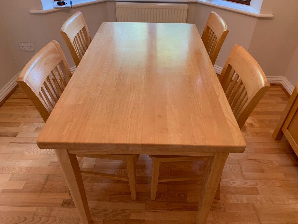 solid woodenveneer diningkitchen table  4 chairs  in
