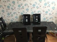 Modern Design 6 Chair Expandable Glass Dining Table