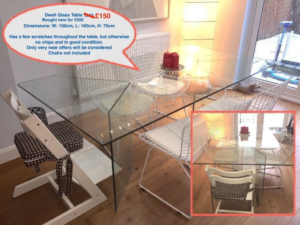Dwell Person Glass Dining Table URGENT SALE In Ealing London - 6 person glass dining table