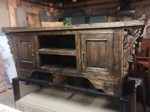 Console meuble Télé TV Table Basse 100% Bois Teck -Indonesie // Handcarved Teak Wood TV Bench Cabinet from Indonesia