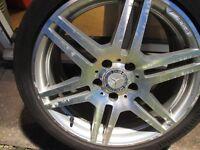 "Mercedes Benz AMG 18"" Diamond cut 4 Alloys GENUINE 3 Excellent Continental Tyres"