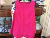 Ladies Cerise Pink Linen Top Size 10