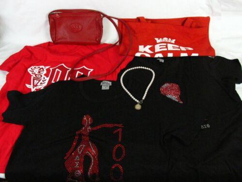 Women Delta Sigma Theta Sorority Leather Handbag T-shirts Faux Pearl Necklace