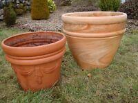 Terracotta Pots/Garden Planters set of 2.Diameter 43cm x1, 33cm x1.
