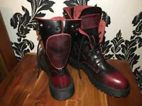 Real leather Punk Womens , Toe Ankle High , Military , Combat , Skull , Motorcycle BOOTS