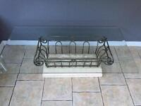 Wrought Iron Coffee Table & Lamp/ Side Table