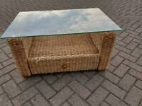 RATTAN conservatory table with glass top and drawer