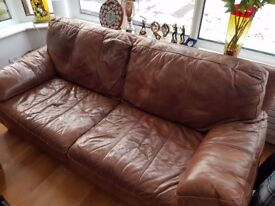 Brown Leather 3 seat sofa from non smoker household