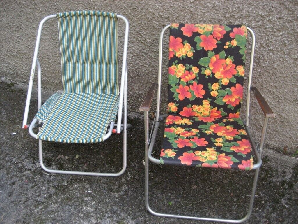 Retro Deck Chairs Camping Chairs Fold Up Chairs Caravan
