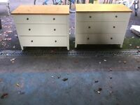 Pair of 4 drawer shaker style white chest of drawers: Pine top & knobs + Matching blanket box