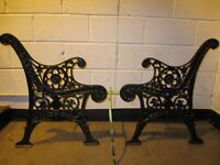 PAIR OF VINTAGE CAST IRON GARDEN BENCH ENDS WITH ORIGINAL CENTRE SUPPORT FREE DELIVERY