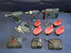 bosch 24v sds plus drill and 2 drills and jigsaw job lot
