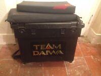 Daiwa fishing tackle box with two cushion seats and fishing tackle