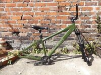 Norco bike frame with Marzocchi forks, Truvativ cranks, seat post, saddle, headset & bars included