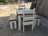 Chunky Rustic Solid Timber Table 2 Chairs and 2 Benches, Painted