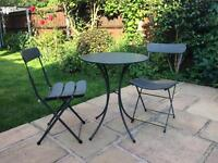 Garden patio furniture round table and two chairs grey