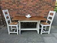 Rustic oak shabby chic dining table & 2 large chairs. Antique white, refectory, vintage.