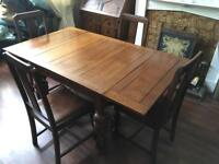 Dining table and chairs x5