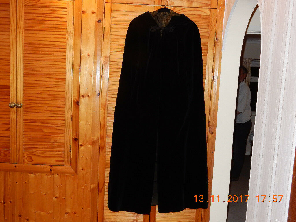 Navy blue velvet full length hooded cloak