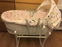 Baby girls Moses basket