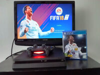 ps4 slim 3 weeks old with wireless controller and fifa 18 + fortnite