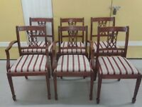 6 dining chairs,Mahogany,carved back,clean cushion,stable,2 carvers