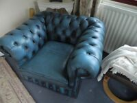 chesterfield sofa & chairs & footstool in blue