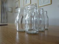 Small Glass Milk Bottles to use as table decorations