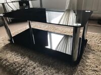 Black glass and chrome set of tables