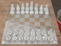 GLASS CHESS SET. IN OK CONDITION