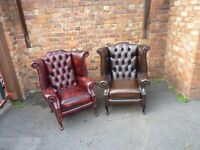 ANTIQUE LEATHER WING CHAIR CHESTERFIELD