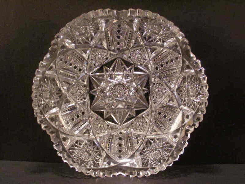 ~BIG Antique ABP Brilliant Libbey Signed Cut Glass Bowl Candy Dish Center Piece