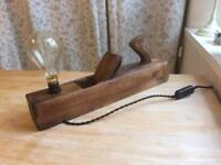 Upcycled vintage wooden plane lamp