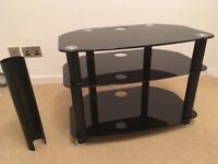 Perfect condition Alphason black glass TV stand with cable management