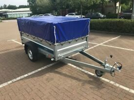 Brand new Faro Tractus 2,36cm car box trailer with mesh side, cover and Anti-puddling support bar