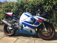 Susuki GSX-R750 2001 Blue/White Tax-end Feb Mot Sept 2018 Alarmed