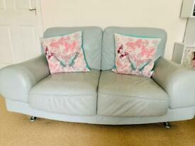 Light blue leather 2 seater sofa+ footstool